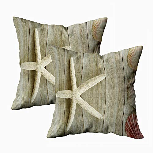 Fullentiart Zip Pillow Case, Thanksgiving Day Gift Beauty in Nature Dried Starfish Scallop Shells Rustic Wooden Square…