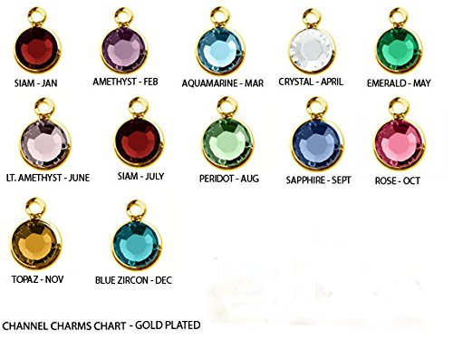 (60pc Set of Genuine SWAROVSKI Birthstone Channel Charms Gold Plated)