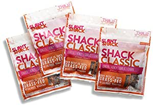 SlantShack Beef Jerky, Shack Classic, 2 oz. Pack (4 ct.), Ginger & Garlic Original Flavor, 100% Grass Fed Beef with Organic Spices, Non-GMO, No Preservatives, Healthy Paleo & Keto Friendly Snack