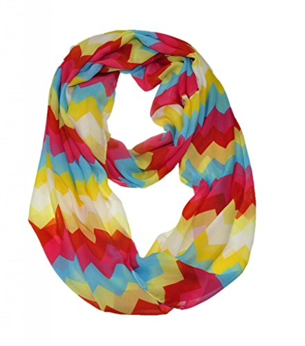 WishCart? Women's Infinity Scarf Loop Ring Light Weight Zig Zag Chevron Sheer Print,Size Bigger Then Others,Multi Color With 30 Different Colors-Rad Yellow