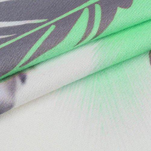 Impreso gran Camisa mangas o sin de Verde O Plumas estilo Blusa Top mangas Adeshop tama Chica Chaleco Mujeres sin suelta Camisetas Verano cuello Camiseta Moda Casual con r7vpvx