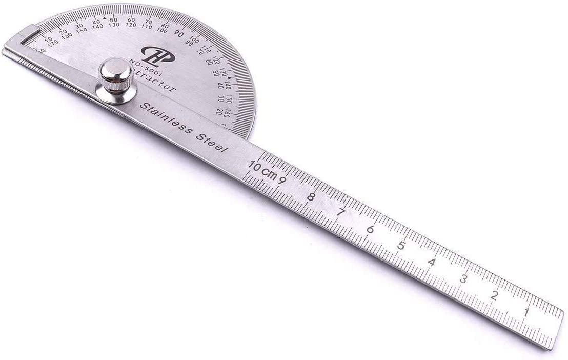 NUOLUX Stainless Steel Protractor Ruler 180 Degree Angle Finder Rotary Measuring Ruler Silver