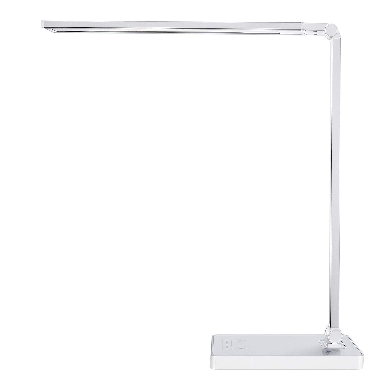 Phive Dimmable LED Desk Lamp with Fast Charging USB Port, Touch Control, 8-Level Dimmer / 4 Lighting Modes, Aluminum Body, Eye-Care LED, Table Lamp for Bedroom/Reading / Study (Silver)