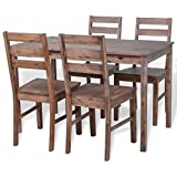 Solid Acacia Wood Dining Set 1 Table and 4 Chairs, Kitchen Dining Room Furniture