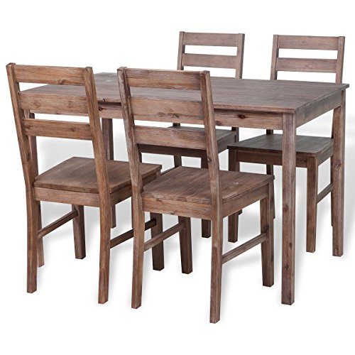 Solid Acacia Wood Dining Set 1 Table and 4 Chairs, Kitchen Dining Room Furniture by HomeSweet