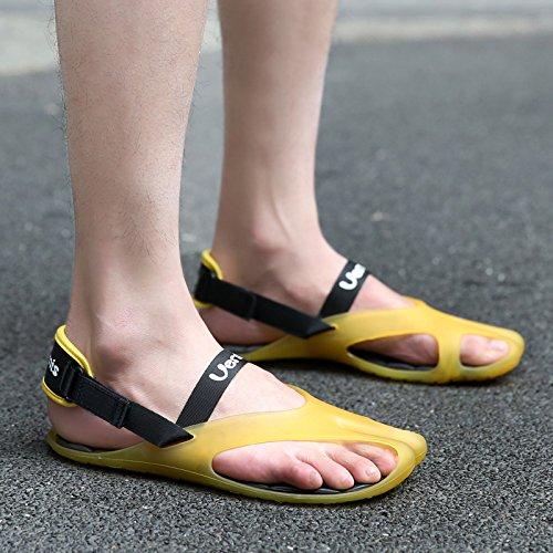 Xing Lin Sandalias De Cuero El Perezoso Multitudes De Hombres Zapatos De Cuero, Sandalias De Parejas Con Antideslizante Por Campo Y Playa Cool Arrastre Y ,44, Amarillo