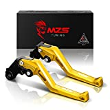 MZS Adjustment Brake Clutch Levers for Yamaha YZF R1 2004-2008,YZF R6 2005-2016 Gold