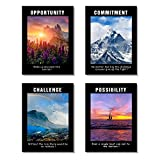 Framed Motivational Poster Inspirational Conference Room Offfice Quotes Wall Art Collection (Scenic-Black)