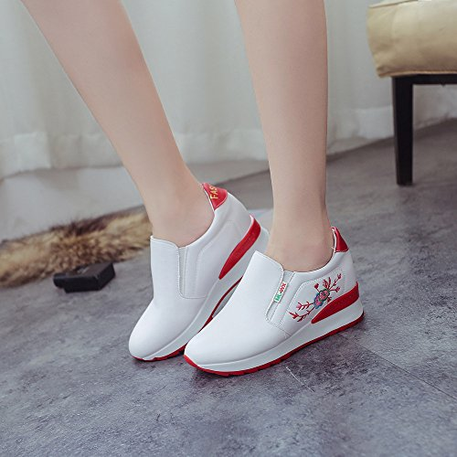 Women Boots, Hatop Women Soft Casual Shoes Breathable Embroidery Thick Bottom Feet Shoes Red
