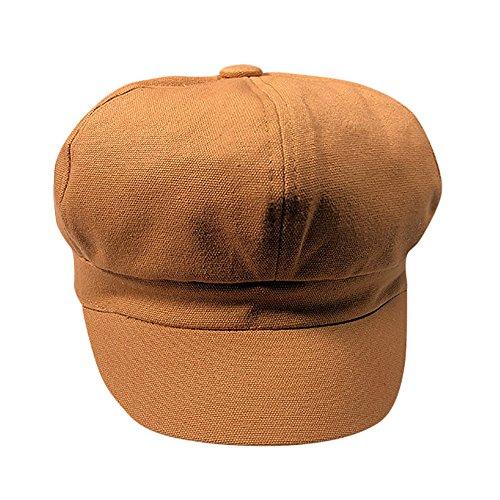 Transer Men Women Octagonal Beret Ivy Hat Cabbie Flat Cap Newsboy Cabby Hats Hunting Caps (Coffee)