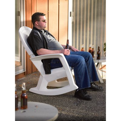 White Outdoor Rocking Chair, 600-Lb. Capacity (Semco Outdoor)