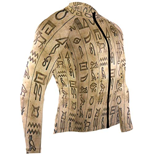 Egyptian Hieroglyphs Mens Cycling Jersey Shirts Full Sleeve Road Bicycle Clothes -
