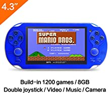 CZT 4.3 Inch 8GB Handheld Game Console 32Bit Video Game Console Built-in 1200+ non-repetitive games Support NES/SNES/GB/GBC/GBA/SMC/SMD/SEGA Games MP3 MP5 Player Support Ebook Camera Recording (Blue)