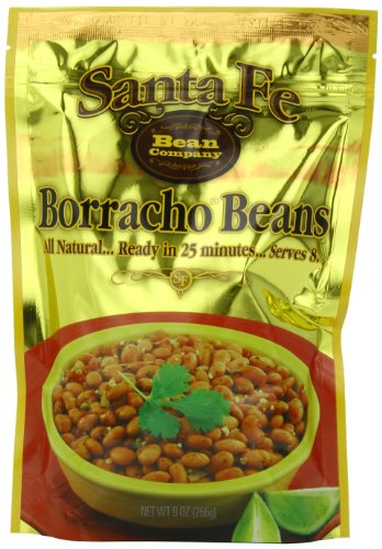 Santa Fe Bean Company Borracho Beans 9-Ounce Pouch (Pack of 8) Instant Borracho Beans; All Natural; High in Fiber; A Great Source of Protein; Fat Free; Reduced Sodium