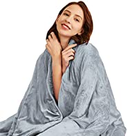 Hiseeme Minky Weighted Blanket 15 lbs for Adult (48''x72'', Twin Size) Plush Luxury Fabric wit