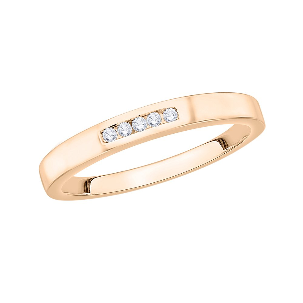 1//20 cttw, G-H,I2-I3 Size-3.25 Diamond Wedding Band in 10K Pink Gold