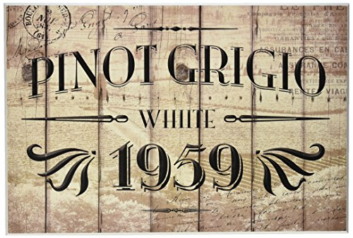 Stupell Home Décor Pinot Grigio Barrel Label Wine Kitchen Wall Plaque, 10 x 0.5 x 15, Proudly Made in USA (Framed Label Wine)