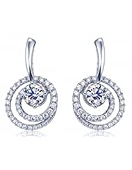 Richy-Glory - Real 925 Sterling Silver Punk CZ Crystal Round Earrings