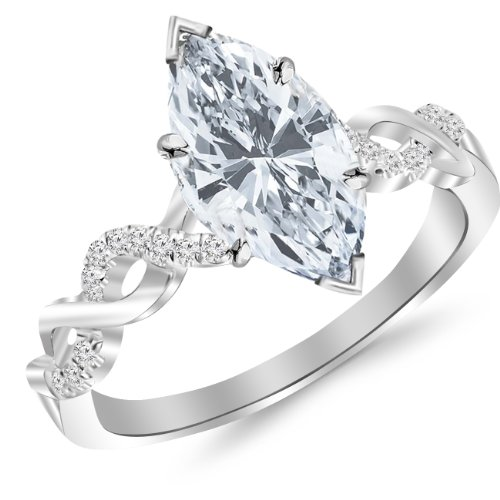 1.13 Carat t.w. Twisting Infinity Gold and Diamond Split Shank Pave Set Diamond Engagement Ring with a 1 Ct Forever Classic Marquise Moissanite Center
