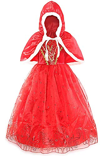 MOREMOO Little Girls Deluxe Halloween Christmas Costume Red Hood Dress(Red -
