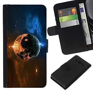 KLONGSHOP // Tirón de la caja Cartera de cuero con ranuras para tarjetas - Space Planet - Samsung Galaxy A3 //