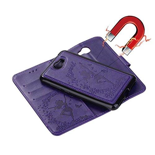 Color Flip PU Y5 amp; 1 Décochable Housse Huawei avec Girl Fairy Horse 2ème pour Génération Texture Housse Slots Lanyard Pattern en en II cuir en Cash Card relief Stand Purple Red 2 Crazy qqF8n6wA