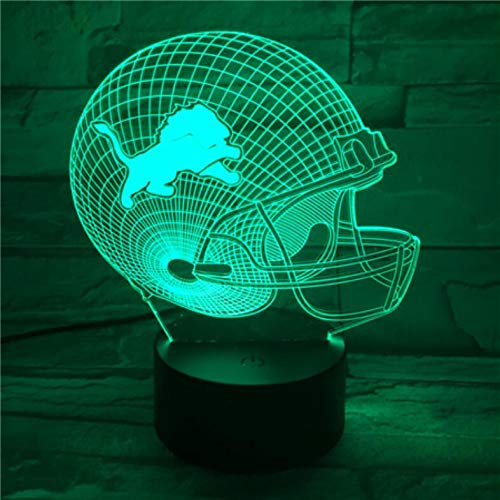 - QIANDONG1 Detroit Lions Football Cap Helmet USB Table Desk Lamp 3D Light Led 7 Color Changing Touch Switch Light Home Decoration