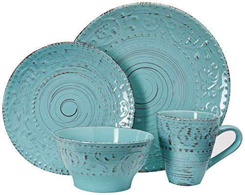 Elama Embossed Stoneware Ocean Dinnerware Dish Set, 16 Piece, Turquoise - ◈A STUNNING ACCENT TO YOUR TABLE◈ The Elama Malibu Waves 16 Piece Round Stoneware Dinnerware Set in Turquoise ◈BEAUTIFULLY COLORED◈ In Tropical Turquoise, this tableware set will surely set a tone at dinner time ◈A FULL SERVICE FOR 4◈ Each dish is creatively crafted into a unique and contemporary shape, adding a little something more special to meal time - kitchen-tabletop, kitchen-dining-room, dinnerware-sets - 51oD1r76aqL -