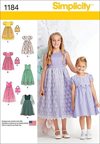 Simplicity US1184K5 Girl's Dress and Purse Sewing Patterns, Sizes 7-14