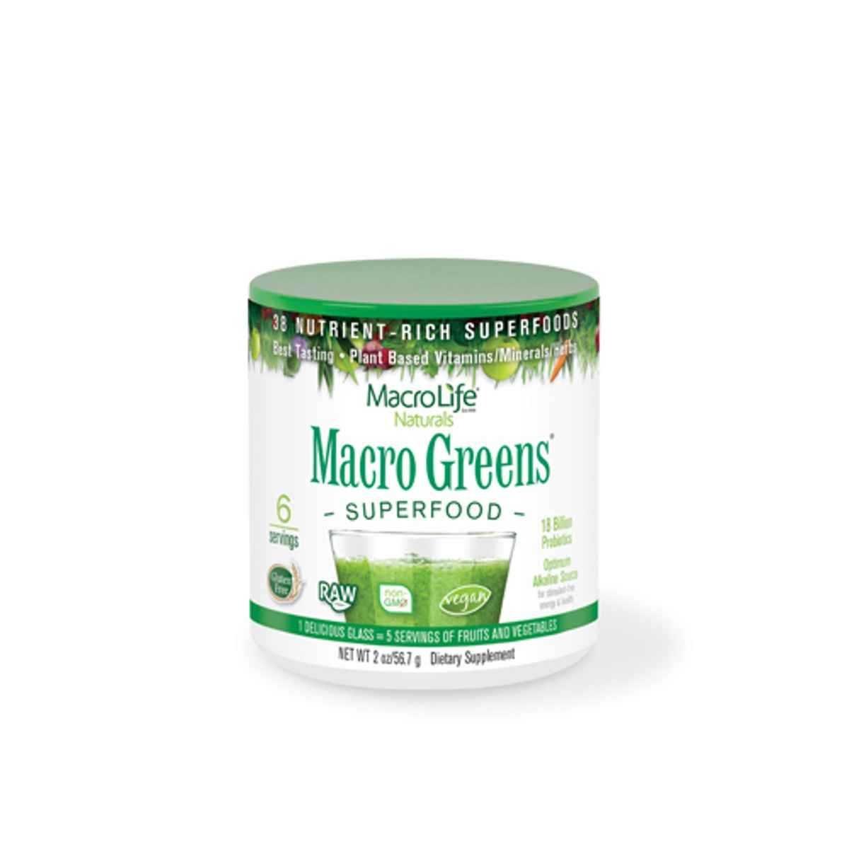 Amazon.com: Macrolife Naturals Raw Superfood Macro verdes, 6 ...