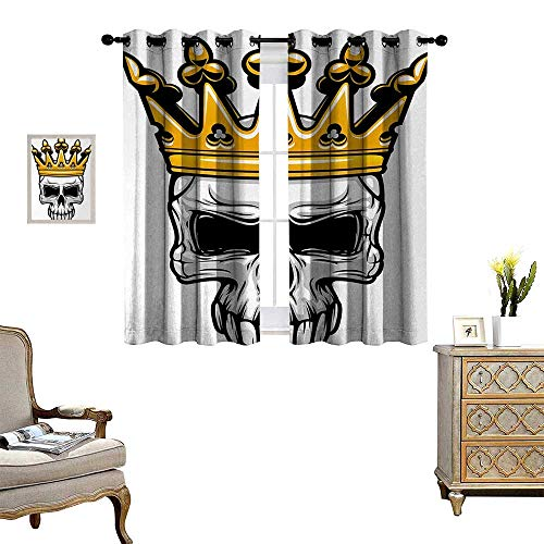 Anyangeight King Thermal Insulating Blackout Curtain Hand Drawn Crowned Skull Cranium with Coronet Tiara Halloween Themed Image Patterned Drape for Glass Door W63 x L45 Golden and Pale Grey
