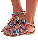 Pxmoda Boho Gladiator Leather Flat Sandal Flats Shoes Pom-Pom Sandals (Euro Size 38, Muticolor)