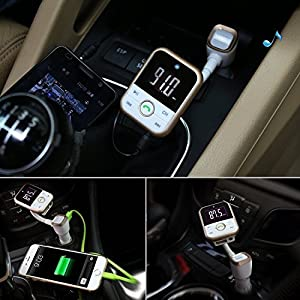 FM Transmitter Bluetooth Radio for Car, In Car Bluetooth Adapter Radio Transmitter Receiver MP3 Player Hands-Free Calling for Car Audio Stereo System USB Car Charger