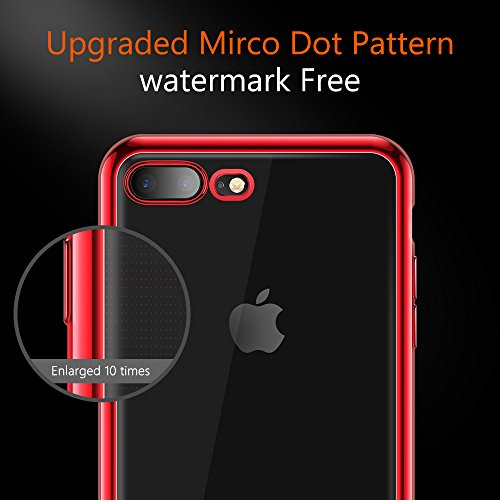 TORRAS Crystal Clear iPhone 8 Plus Case/iPhone 7 Plus Case, Soft Cover Case with Electroplated Frame Ultra Slim TPU Gel Case Compatible with iPhone 7 Plus/8 Plus, Clear Back & Red Frame by TORRAS (Image #3)