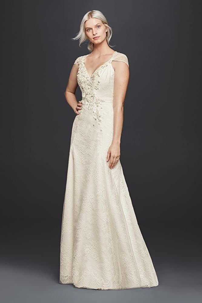 Lace Sheath V Neck Wedding Dress With Floral Applique Style Jp341703 Ivory 12 Amazon Ca Clothing Accessories