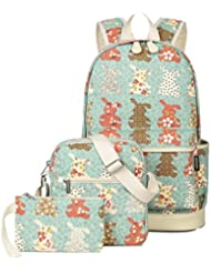 Moonwind Canvas Kids Girls Backpacks for School Book Shoulder Bags Set Teens