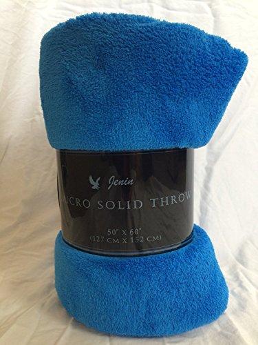 "Awad Home Fashion Solid Warm & Cozy Soft Fleece Throw Plush 50""x60"" Blanket, Royal Blue"