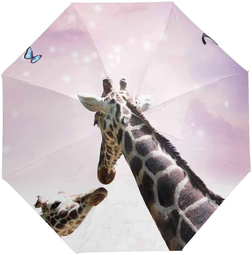 InterestPrint Custom Giraffes Forest Anti Sun UV Foldable Travel Compact Umbrella