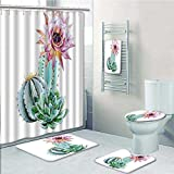 Nalahome 5-piece Bathroom Set-Includes Shower Curtain Liner, Spikes Flower in Hot Mexican Desert Sand Botanic Pink Green and BlueDecorate the bathroom(Medium size)