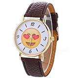 #7: BCDshop Cute Watch, Unisex Quartz Movement Watches Funny Emoji Expression Leather Wrist Watch Gift
