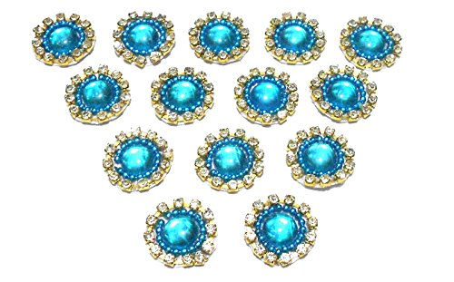 Goelx Patches Colorful Round Shape Handmade Appliques Rhinestone Embellishments For Decoration,Crafts Ideas, Jewelery Making, Easy to Use Pack of 50 - Turquoise Blue