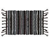 Ojia Cotton Reversible Rag Rug Hand Woven Multi Color Striped Chindi Area Rug Entryway for Laundry Room Kitchen Bathroom Bedroom Dorm(4 x 6ft,Brown)
