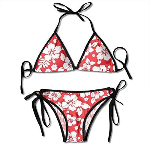 - Hibiscus Pattern Women's Bikini Swimsuit Adjustable Halter Swimwear Two Piece Sets Black