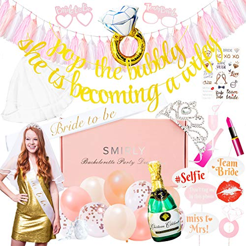 Bachelorette Party Decorations and Supplies: Party Kit for Girls Night Out, Bridal Shower or Engagement Party - Includes Banner, Bride to Be Sash, Tiara, Veil, Balloons, Tattoos, Photo Booth Props
