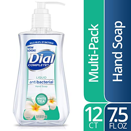 Dial Antibacterial Liquid Hand Soap, White Tea & Vitamin E, 7.5 Fluid Ounces (Pack of 12)