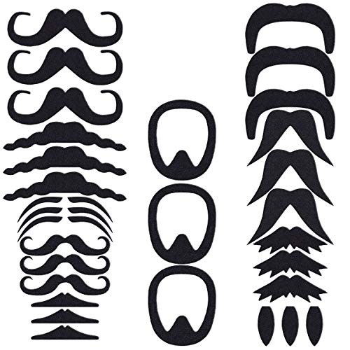 PRETYZOOM Self Adhesive Mustaches Set Novelty Fake Mustaches for Masquerade Party-Party Cosplay Supplies 30 Pcs ()