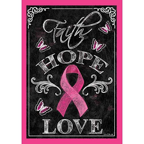 COCOBE Pink Ribbon - Faith, Hope, Love COCOBE - Double Sided, Garden Size, 12 Inch X 18 Inch Decorative Flag]()