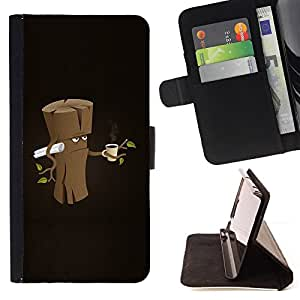 For Samsung Galaxy A5 A5000 A5009 Funny Grumpy Morning Wood Style PU Leather Case Wallet Flip Stand Flap Closure Cover