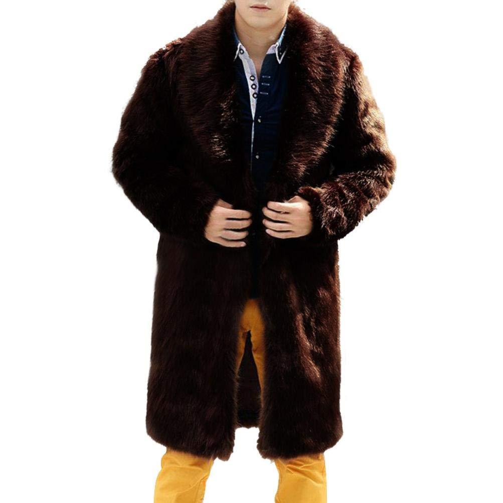 Sharemen Men's Faux Fur Coat Long Overcoat Lapel Outerwear