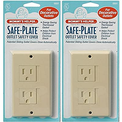 Mommys Helper Safe Plate Electrical Outlet Covers Decora (2 Screws) - Color: Almond - 2 Count
